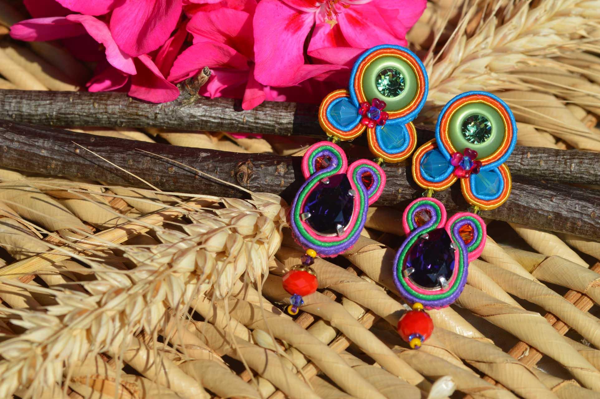 Oorbellen soutache Multicolour swarovski met soutache