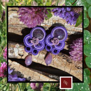 Handgemaakte oorbellen :  ' Lilac Lilly '